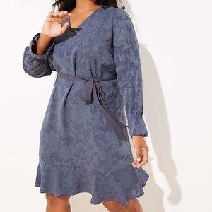 NWT LOFT Plus Jacquard Gray Tie Waist Dress Sz 16